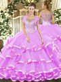 Pretty Floor Length Clasp Handle Ball Gown Prom Dress Lilac for Military Ball and Sweet 16 and Quinceanera with Beading and Ruffled Layers