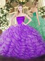 On Sale Ruffles Quinceanera Gowns Eggplant Purple Zipper Sleeveless Brush Train
