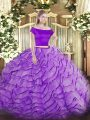 Lavender Two Pieces Off The Shoulder Short Sleeves Tulle Brush Train Zipper Appliques and Ruffles Quinceanera Dress