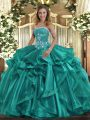 Modern Strapless Sleeveless Ball Gown Prom Dress Floor Length Beading and Ruffles Turquoise Organza