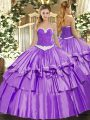 Lavender Organza and Taffeta Lace Up Sweet 16 Quinceanera Dress Sleeveless Floor Length Appliques and Ruffled Layers