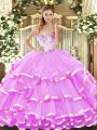 Organza Sweetheart Sleeveless Lace Up Beading and Ruffled Layers 15th Birthday Dress in Lilac