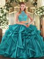 Sumptuous Sleeveless Criss Cross Asymmetrical Beading and Ruffled Layers Ball Gown Prom Dress