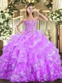 Custom Made Sweetheart Sleeveless Sweet 16 Dresses Floor Length Embroidery and Ruffled Layers Lilac Organza
