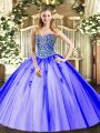 Lavender Sleeveless Floor Length Beading and Appliques Lace Up Quinceanera Dresses