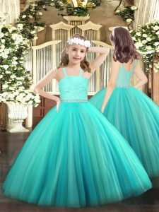 Custom Designed Turquoise Zipper Straps Beading and Lace Little Girl Pageant Gowns Tulle Sleeveless