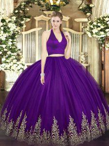 Dark Purple Two Pieces Halter Top Sleeveless Tulle Floor Length Zipper Appliques 15th Birthday Dress