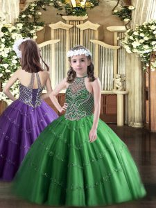 Green Sleeveless Floor Length Beading Lace Up Little Girl Pageant Dress