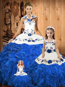 Decent Embroidery and Ruffles Vestidos de Quinceanera Blue Lace Up Sleeveless Floor Length