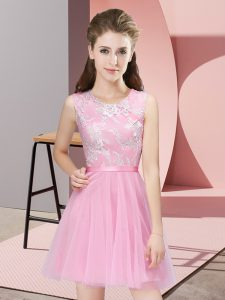 Sweet A-line Bridesmaids Dress Pink Scoop Tulle Sleeveless Mini Length Side Zipper
