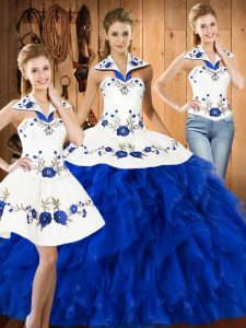 Modern Sleeveless Lace Up Floor Length Embroidery and Ruffles Sweet 16 Quinceanera Dress
