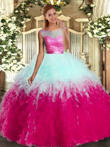 Sleeveless Organza Floor Length Backless 15th Birthday Dress in Multi-color with Ruffles