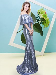 Traditional Blue Off The Shoulder Neckline Sequins Prom Party Dress Half Sleeves Zipper