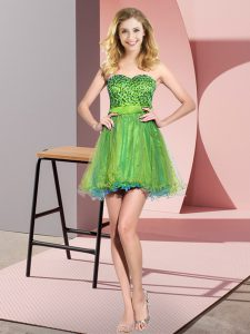 Latest Mini Length Empire Sleeveless Multi-color Wedding Guest Dresses Lace Up