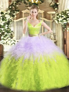 Cute Organza Sleeveless Floor Length 15 Quinceanera Dress and Ruffles