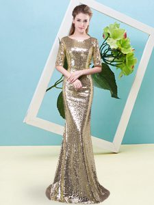 Yellow Mermaid Sequins Prom Dress Zipper Sequined Half Sleeves High Low