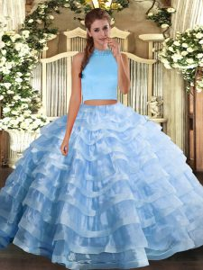Dazzling Organza Sleeveless Floor Length Quinceanera Gown and Beading and Ruffled Layers