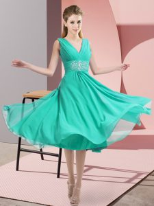 Attractive Sleeveless Knee Length Beading Side Zipper Bridesmaid Dresses with Teal