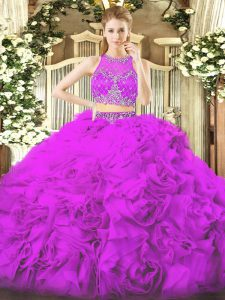 Dynamic Lilac Ball Gowns Scoop Sleeveless Fabric With Rolling Flowers Floor Length Zipper Beading Quinceanera Gowns