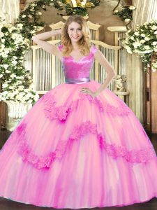 Decent Floor Length Rose Pink Quinceanera Gowns Tulle Sleeveless Beading and Appliques