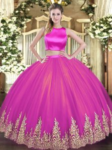 Fuchsia Two Pieces Tulle High-neck Sleeveless Appliques Floor Length Criss Cross Sweet 16 Quinceanera Dress