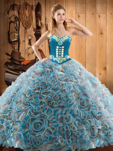 Sleeveless Sweep Train Embroidery Lace Up 15 Quinceanera Dress