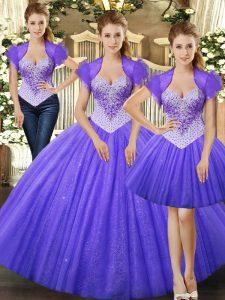 Floor Length Fuchsia Sweet 16 Dress Straps Sleeveless Lace Up
