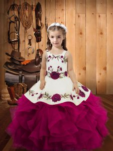 Tulle Sleeveless Floor Length Little Girl Pageant Dress and Embroidery and Ruffles