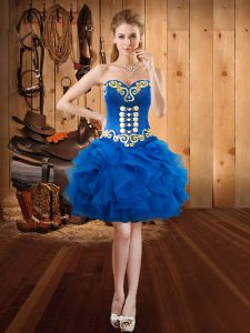 Royal Blue Sleeveless Mini Length Embroidery and Ruffles Lace Up Prom Dresses