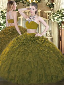 Tulle High-neck Sleeveless Backless Beading and Ruffles Sweet 16 Dress in Olive Green