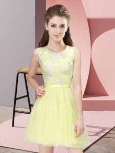 Yellow Side Zipper Scoop Lace Bridesmaids Dress Tulle Sleeveless