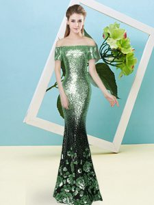 Flirting Apple Green Short Sleeves Sequined Zipper for Prom and Party