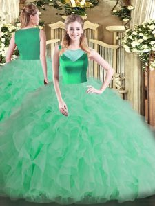 Scoop Sleeveless Quinceanera Dress Floor Length Beading and Ruffles Apple Green Organza