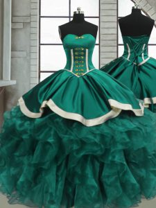 Cheap Sleeveless Lace Up Floor Length Beading and Ruffles Sweet 16 Quinceanera Dress