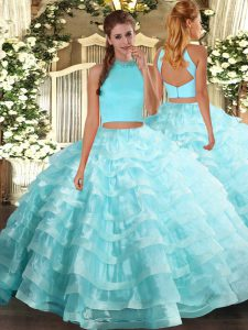 Eye-catching Aqua Blue Sleeveless Floor Length Beading and Ruffled Layers Backless Sweet 16 Quinceanera Dress