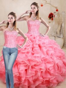 Sleeveless Floor Length Beading and Ruffles Lace Up 15th Birthday Dress with Watermelon Red