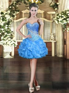 Flare Baby Blue Prom Gown Prom and Party with Beading and Ruffles Sweetheart Sleeveless Lace Up