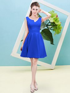 Admirable Sleeveless Satin Mini Length Zipper Bridesmaids Dress in Blue with Ruching