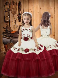 Ball Gowns Child Pageant Dress Wine Red Straps Organza Sleeveless Floor Length Lace Up