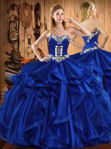 Smart Ball Gowns Sweet 16 Dresses Royal Blue Sweetheart Organza Sleeveless Floor Length Lace Up