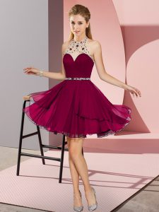 Luxurious Halter Top Sleeveless Homecoming Dress Mini Length Beading Fuchsia Chiffon