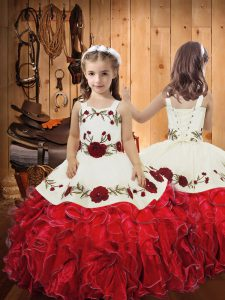 Adorable Embroidery and Ruffles Pageant Gowns For Girls Red Lace Up Sleeveless Floor Length