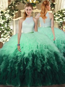 New Style Multi-color Backless Sweet 16 Quinceanera Dress Ruffles Sleeveless Floor Length