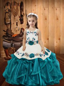 Teal Lace Up Little Girl Pageant Gowns Embroidery and Ruffles Sleeveless Floor Length