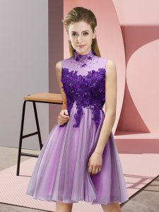 Customized Lilac Lace Up High-neck Appliques Court Dresses for Sweet 16 Tulle Sleeveless