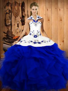 Noble Floor Length Royal Blue Sweet 16 Dress Tulle Sleeveless Embroidery and Ruffles