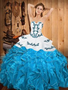 Hot Sale Embroidery and Ruffles Quince Ball Gowns Teal Lace Up Sleeveless Floor Length
