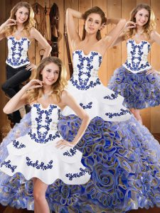 Delicate Multi-color Fabric With Rolling Flowers Lace Up 15 Quinceanera Dress Sleeveless With Train Sweep Train Embroidery