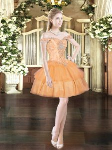 Custom Design Orange Red Organza Lace Up Homecoming Dress Sleeveless Mini Length Beading and Ruffled Layers