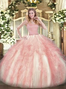 Captivating Sleeveless Tulle Floor Length Zipper Quinceanera Dress in Red with Beading and Ruffles